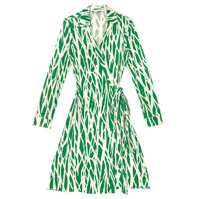 stem wrapping dress green